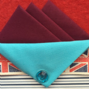 Burgundy Hankie With Turquoise Blue Flap and Pin